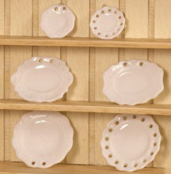 6 x Pretty White Plates 12th Scale for Dolls House