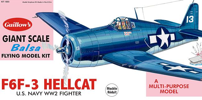 Guillows F6F-3 Hellcat Grumman 16th Scale Balsa Flying Model Kit