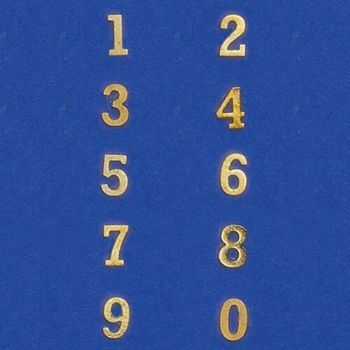 Brass 0 - 9 Number Set 1:12 Scale for Dolls House