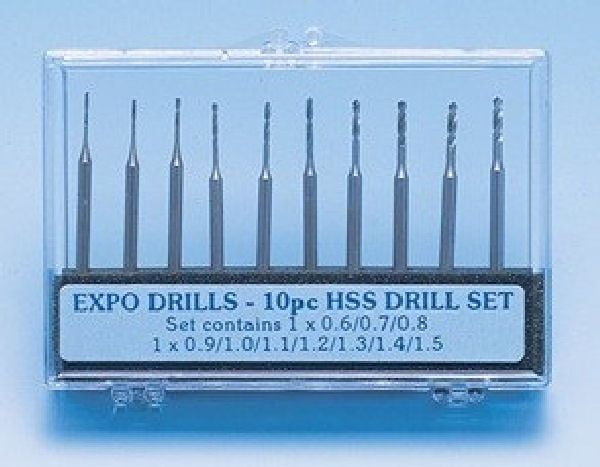 Expo 10 Piece Drill Set 0.6 to 1.5mm