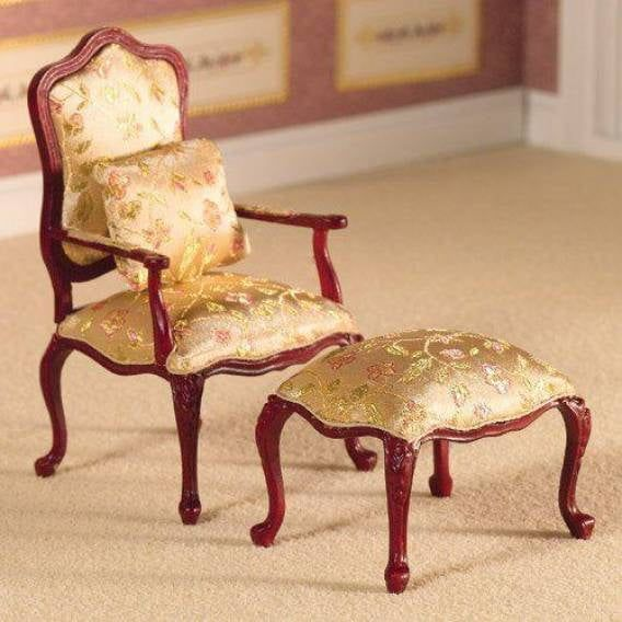 Finely Carved Chair and Stool