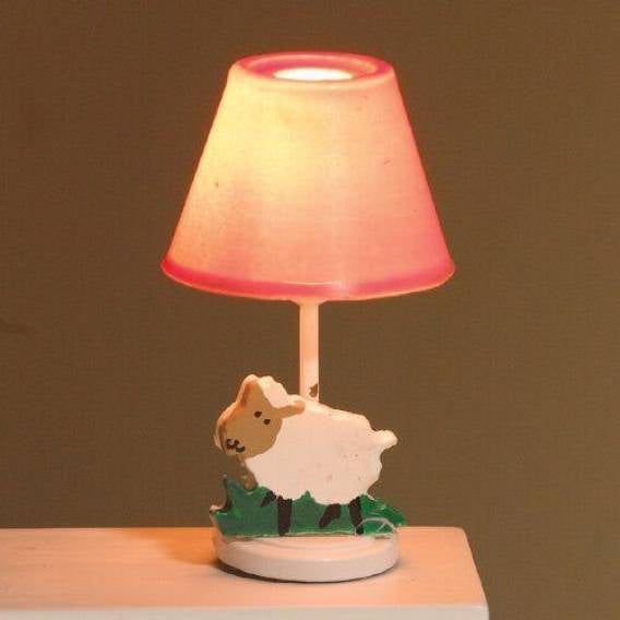 Pink Nursery Table Lamp with Sheep Decoration 1:12 Scale for Dolls House 12V