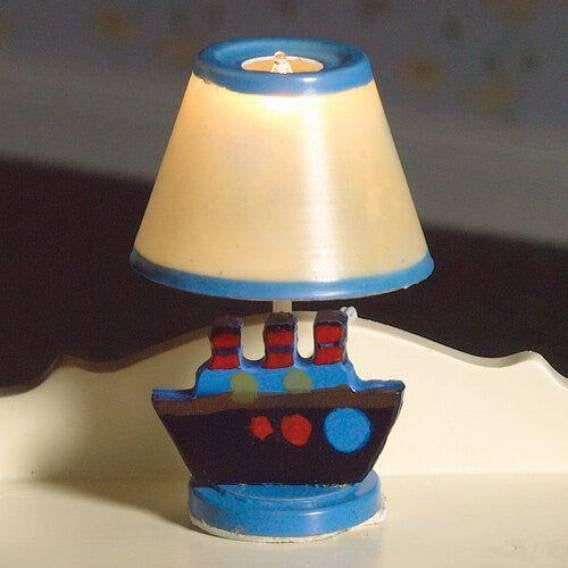 Blue Nursery Table Lamp with Boat Decoration 1:12 Scale for Dolls House 12V