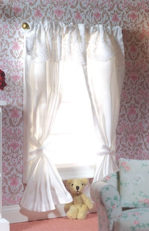 Two Pairs White Curtains on a Rail