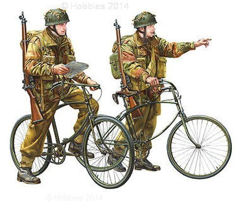 Tamiya British Paratroopers with Bicycle Set 1:35 Scale Plastic Model Figures Set