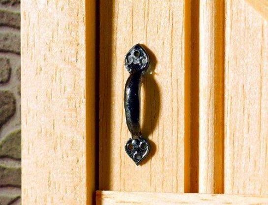 Two Black Tudor Style Black Door Handles 1:12 Scale from Dolls House Emporium 20mm x 3mm