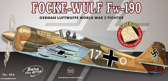 Guillow Focke Wulf Fw190 Balsa Aircraft Kit