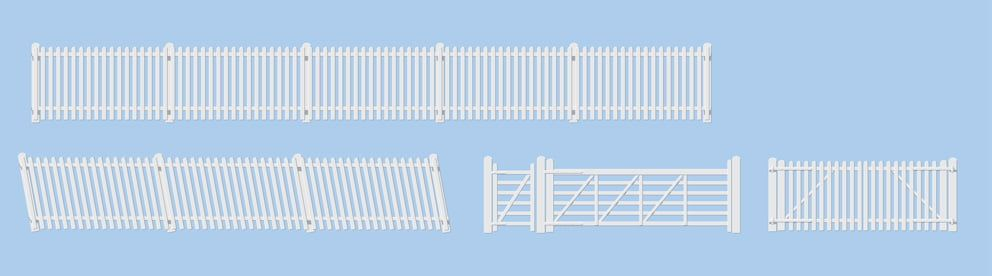Peco GWR Station Fencing White (inc. gates & ramps)
