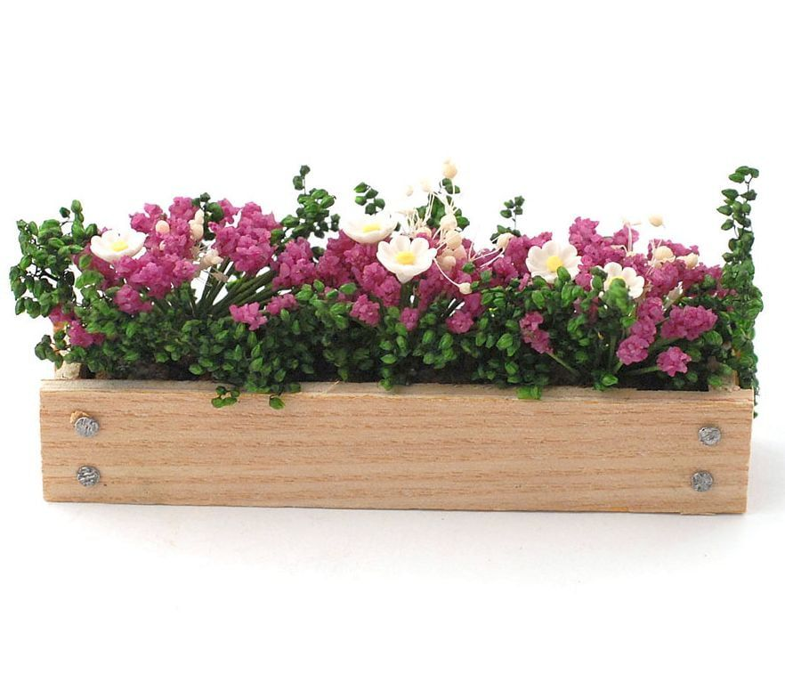 Pink Window Box 12th Scale for Dolls House Garden