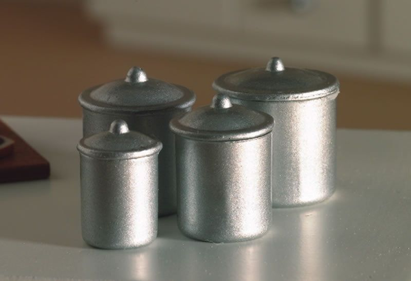 Set of 4 Silver Food Canisters