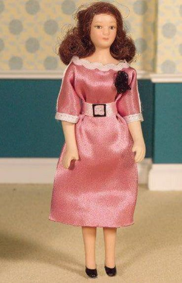 Porcelain Doll Margot in Dress Poseable 1:12 Scale for Dolls House
