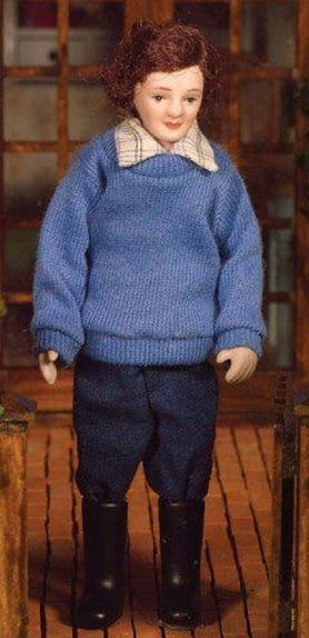 Porcelain Doll Tom in Jumper and Wellys Poseable 1:12 Scale for Dolls House
