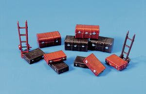 Peco Trunks (4) Suitcases (6) & Trolley Sack Truck (2)
