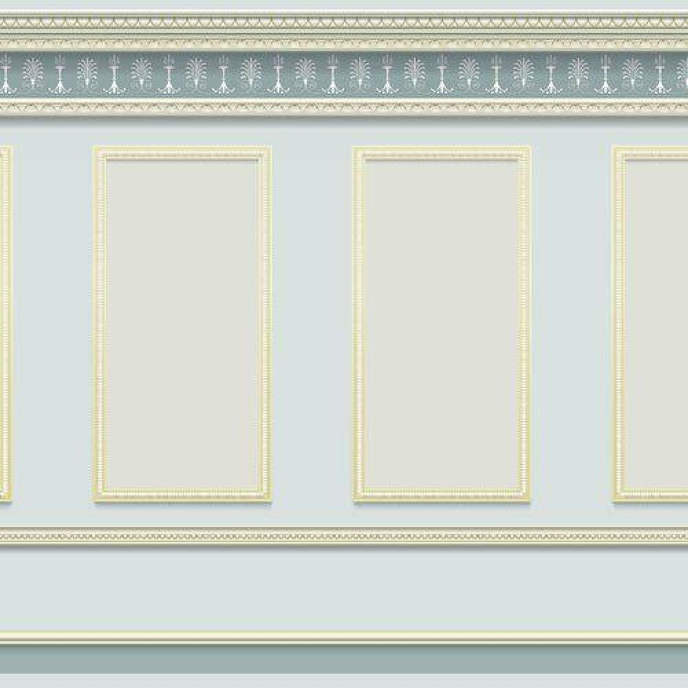 Blue Grey Panelling Wallpaper for 1:12 Scale Dolls House
