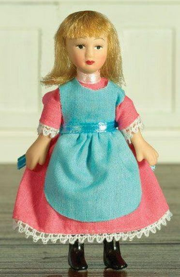 Delphia in Pink Turquiose Dress Poseable Porcelain Doll 1:12 Scale for Dolls House