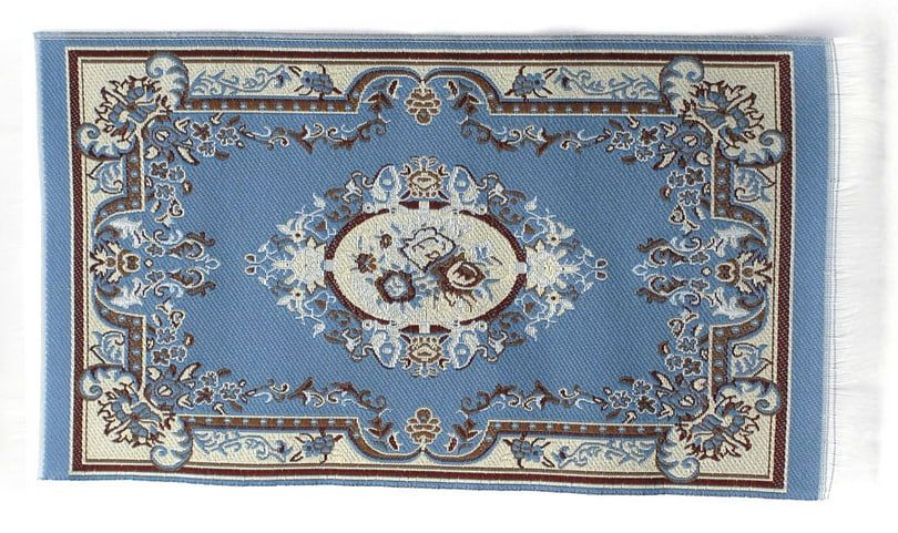 Blue Victoria Rug 17 x 10cm for 1:12 Scale Dolls House