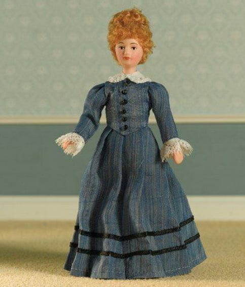 Miss Maison Poseable Porcelain Doll in Victorian Day Wear 1:12 Scale for Dolls House Miss Mason
