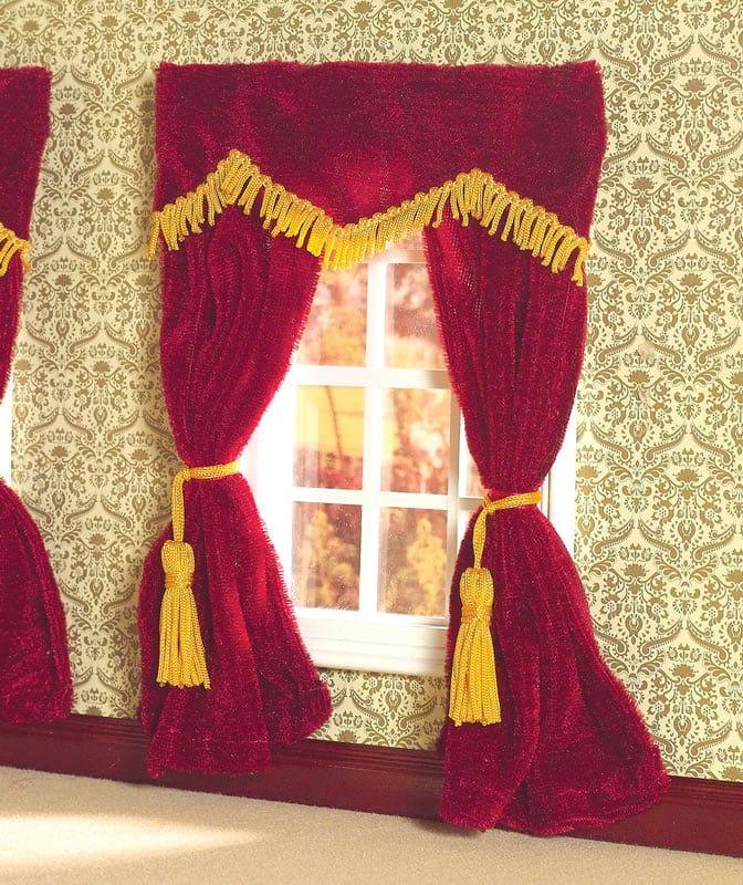 Plush Red Velvet Curtains 1 12 Scale for Dolls House