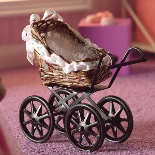 Brown Wicker Pram 1 12 Scale for Dolls House