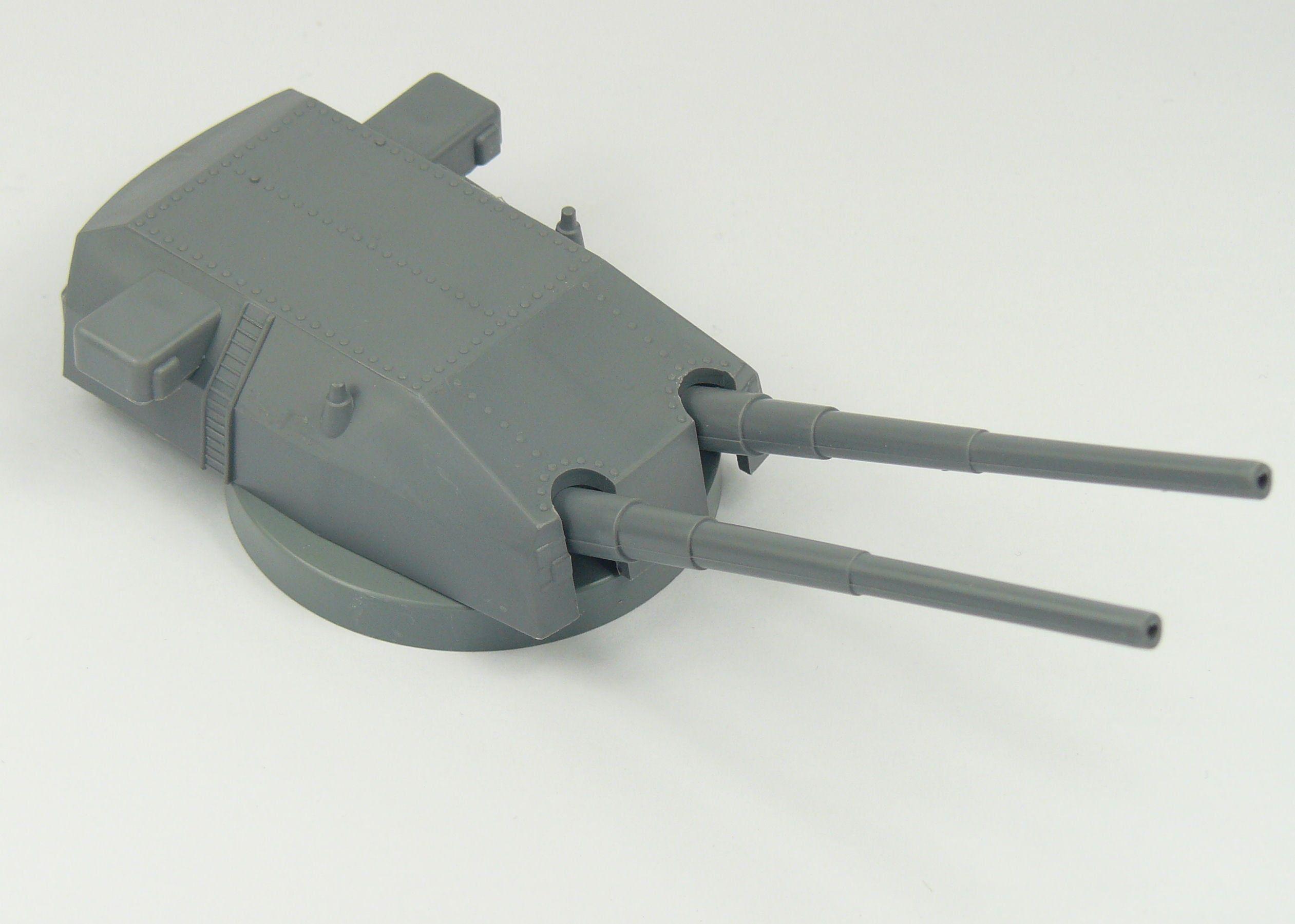Gun Double Mount Turret 280mm Low Base 1:200 Scale 132mm