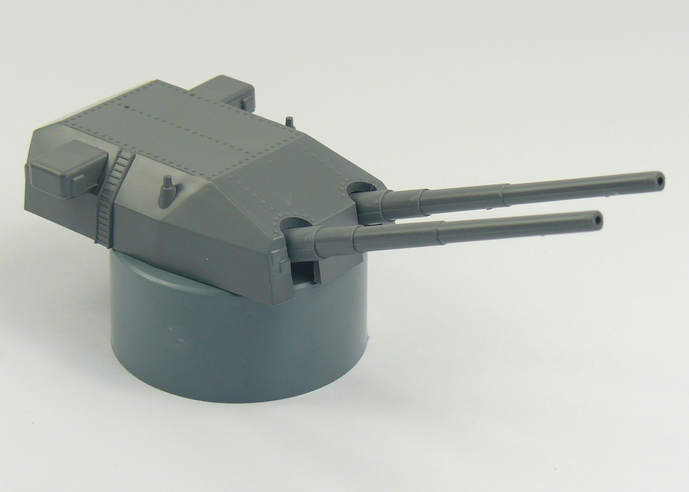 Double Mount Raised Turret Gun 380mm High Base for Scale Model Ship Kits
