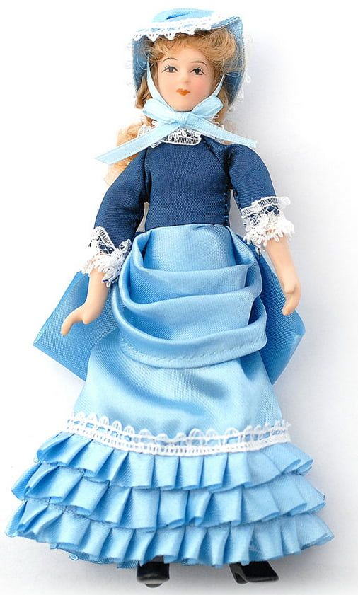 Porcelain Doll Estella in Light Blue Dress Poseable 1:12 Scale for Dolls House