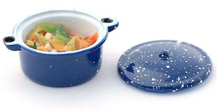 Chicken Casserole in Blue Dish