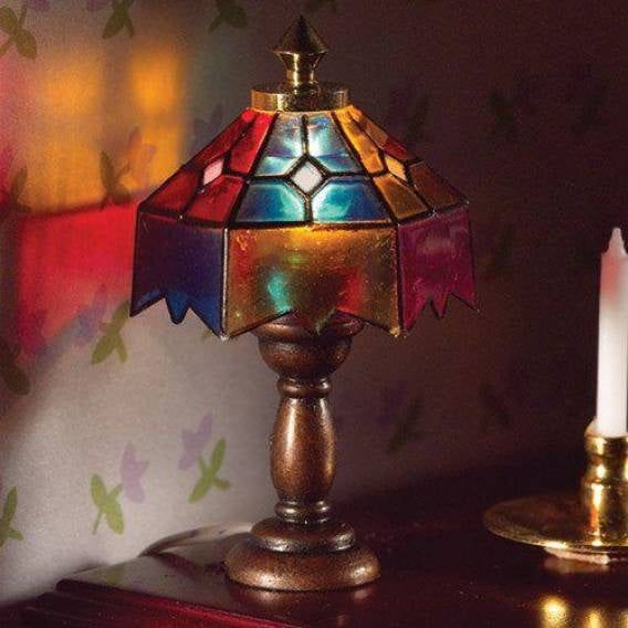 Coloured Tiffany Table Lamp for 1:12 Scale Dolls House