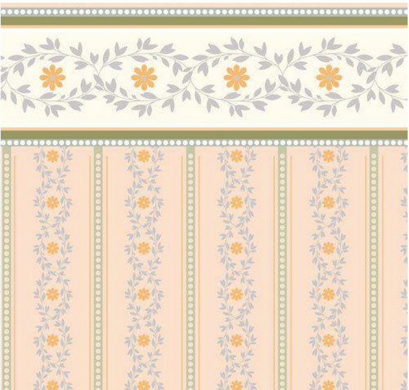 Soft Peach Posy Wallpaper 1 12 Scale for Dolls House