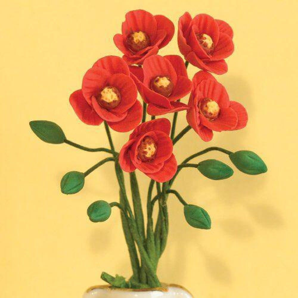 Red Poppies Flowers  x 6