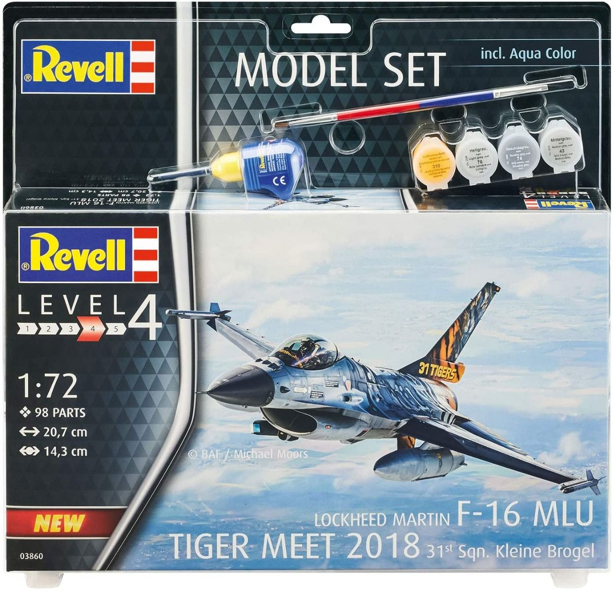 Revell 1/72 Scale Model Set - F-16 MLU 31 Sqn. Klein-Brogel