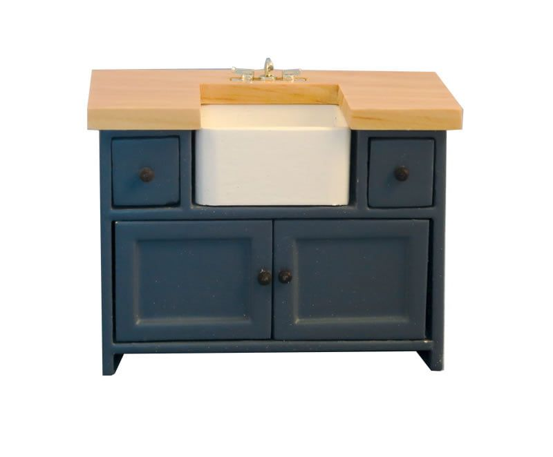 Shaker Style Sink Unit Blue Pine