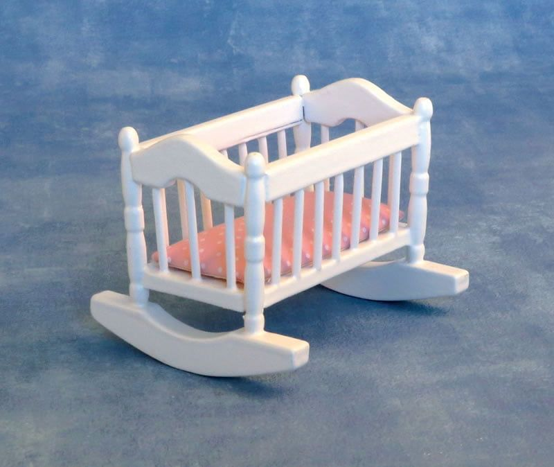 12th Scale White Cradle and Pink Mattress for Dolls Houses