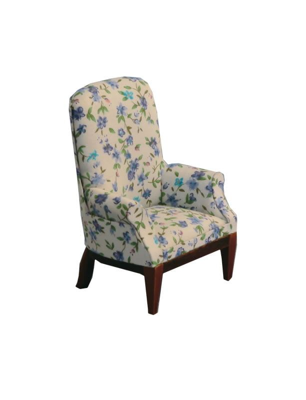 12th Scale Floral Fireside Chair for Dolls Houses