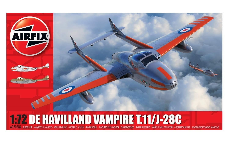 Airfix deHavilland Vampire T.11 / J-28C 1:72 Scale Plastic Model Kit