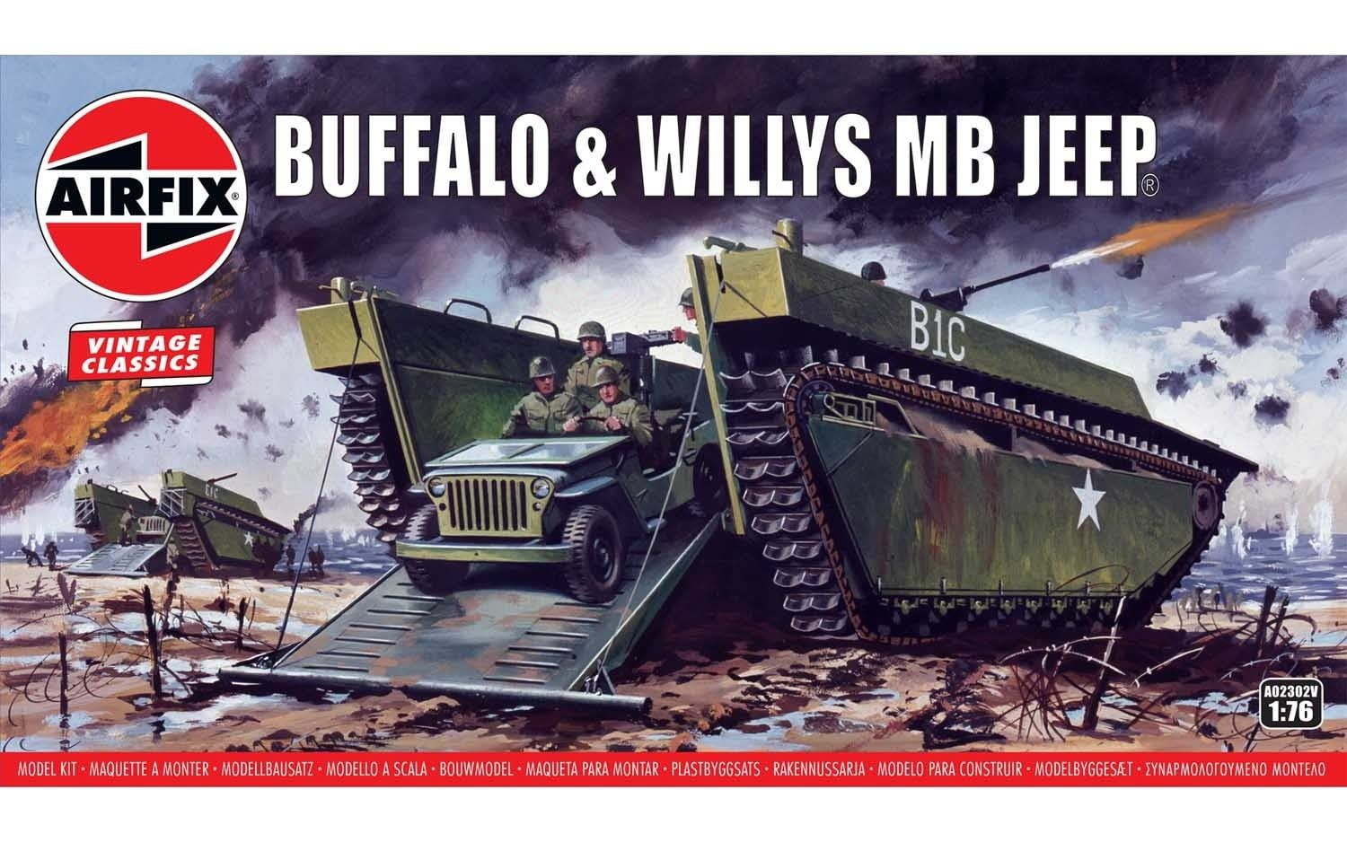 Airfix Buffalo Willys MB Jeep 1:76 Scale Plastic Model Kit