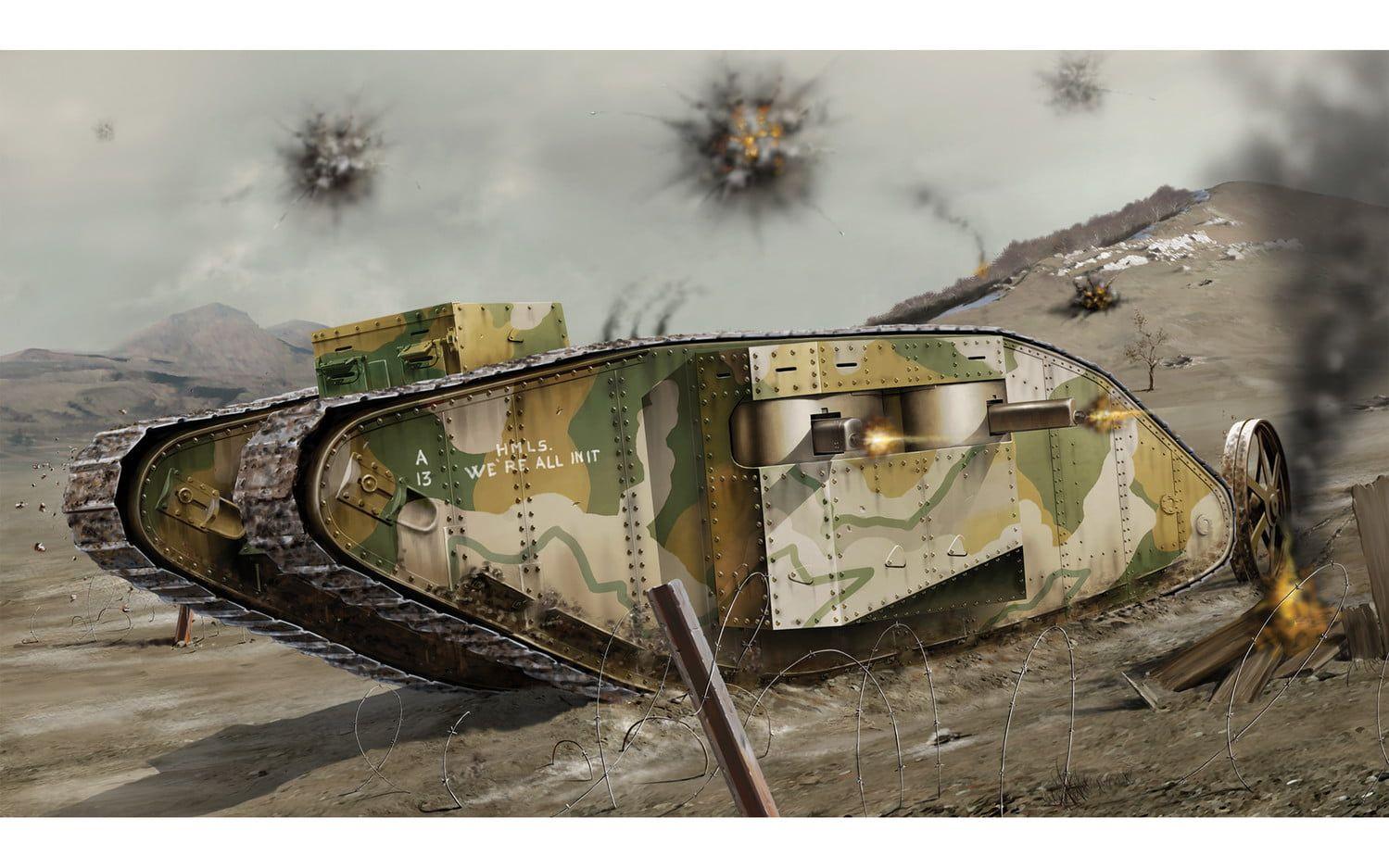 Airfix WWI Female Tank 1:76 Scale Plastic Model Kit