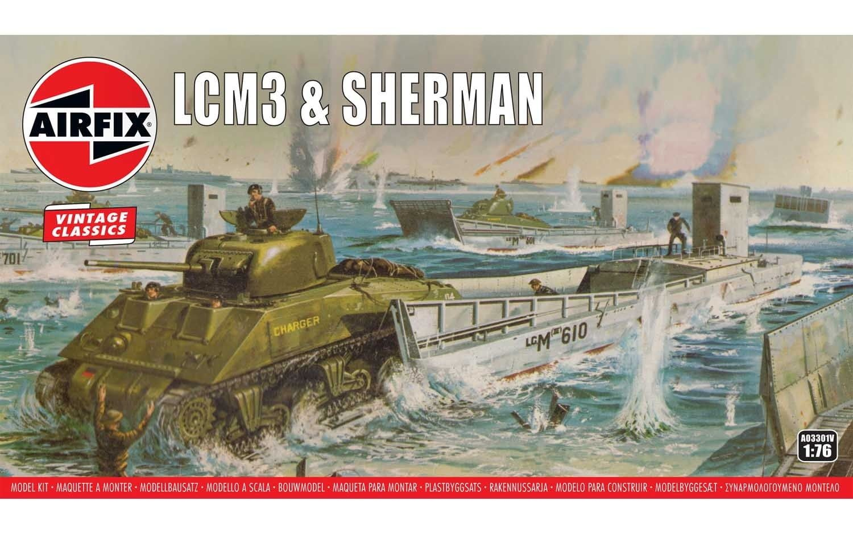 Airfix LCM3 & Sherman Tank 1:76 Scale Plastic Model Kit