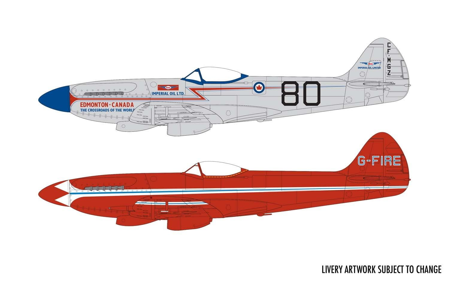 Airfix Supermarine Spitfire MkXIV Civilian Schemes
