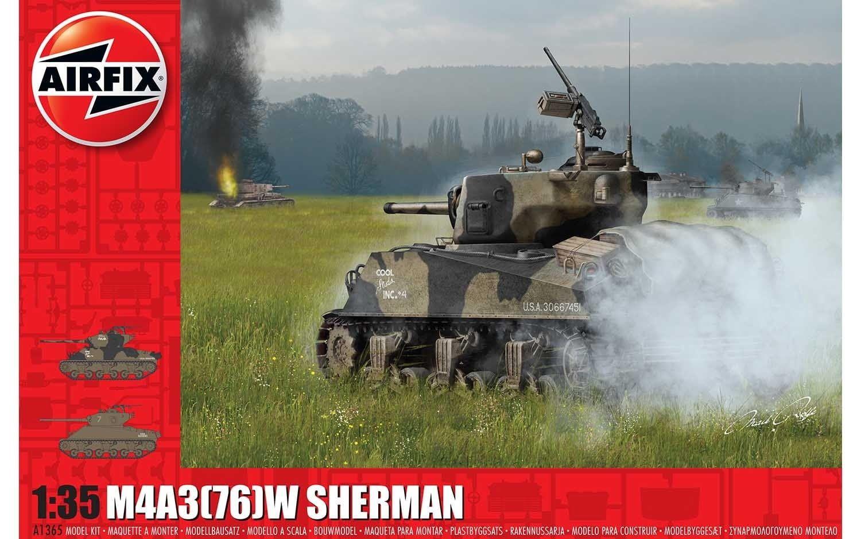 "Airfix M4A3(76)W ""Battle of the Bulge"" 1:35 Scale Plastic Model Kit"