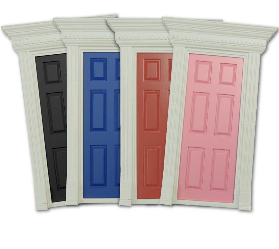 Painted Dentil Trim Wooden Doors for Dolls House Miniatures