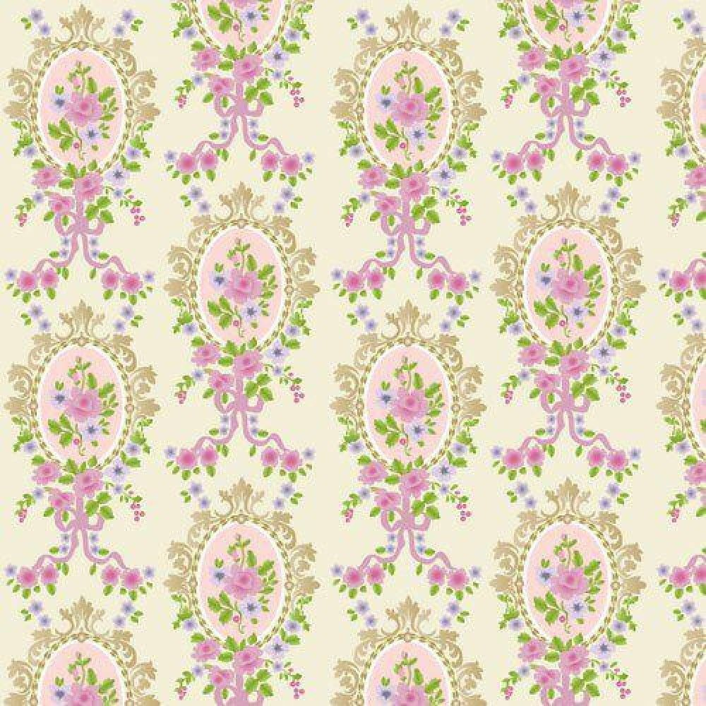 Cream Victorian Cameo Wallpaper 430 x 600mm for Dolls House