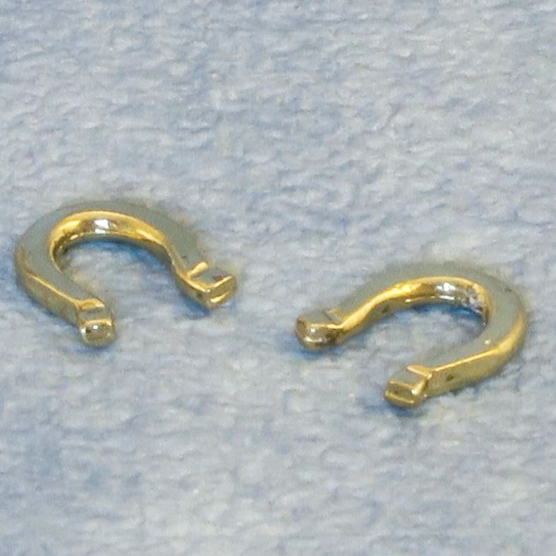 2 x Brass Horse Shoes 12th Scale for Dolls House