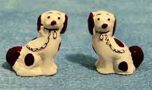 Staffordshire Dogs China Ornaments x 2