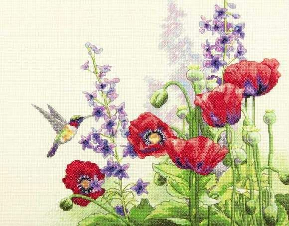 Cross Stitch - Hummingbird and Poppies