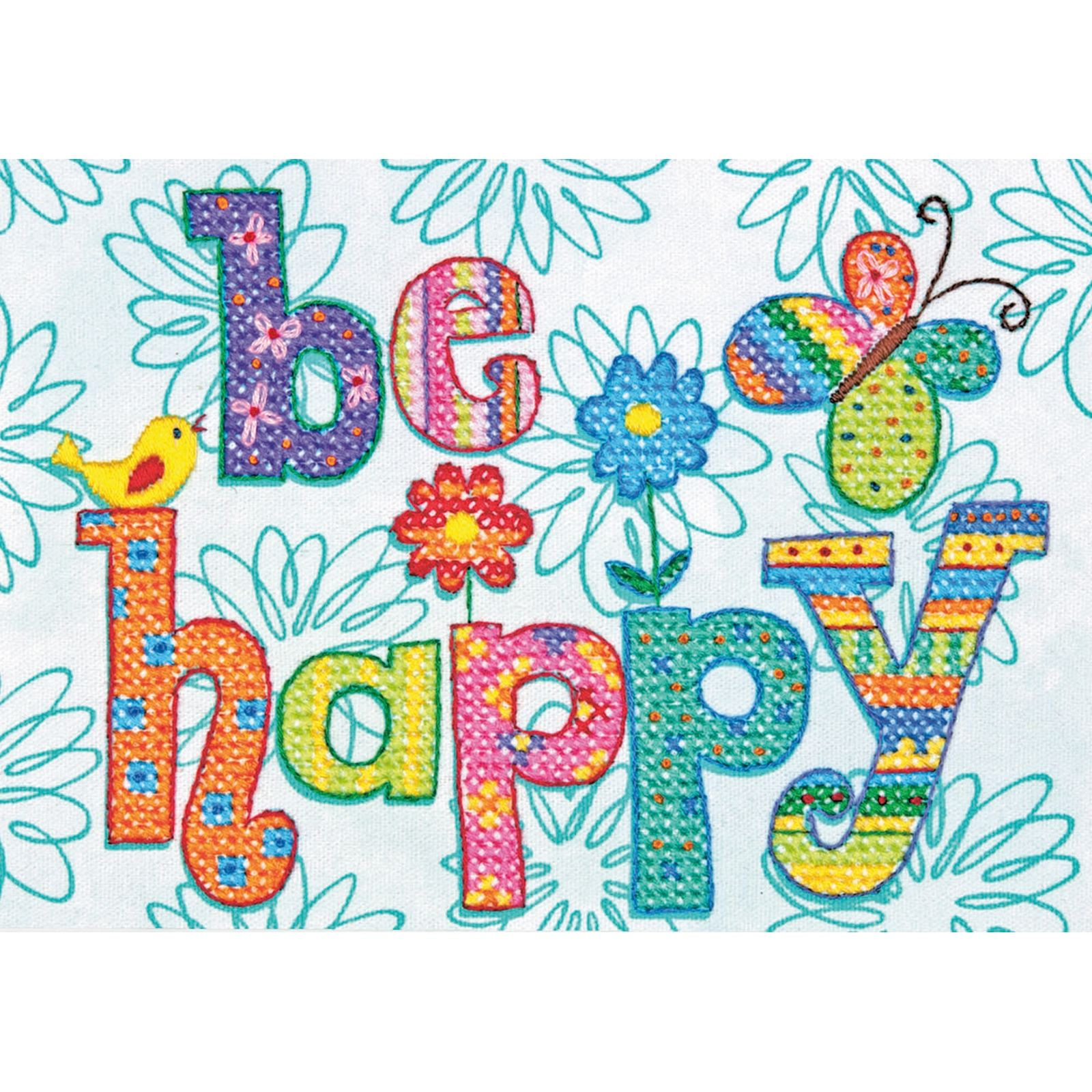 Cross Stitch - Be Happy
