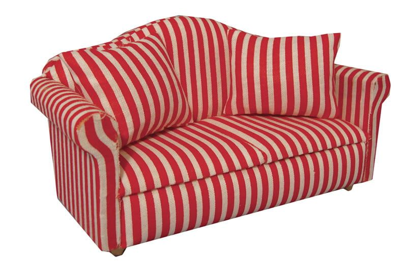 Red Striped 2 Seat Sofa