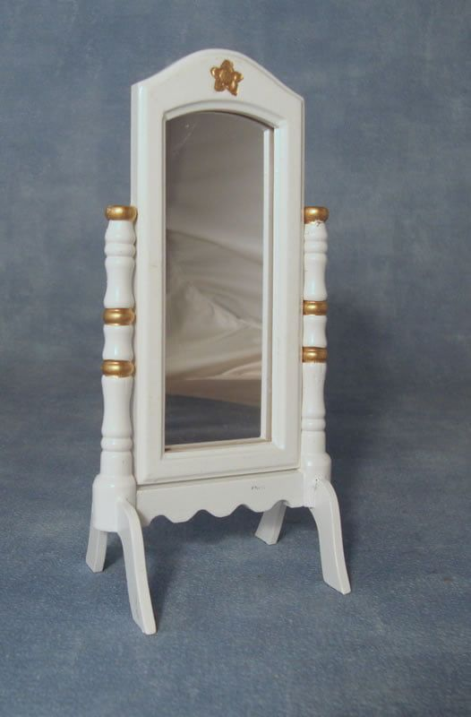 12th Scale Mirror in White Stand