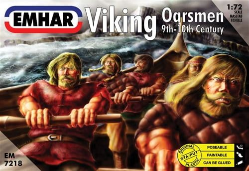 Emhar Viking Oarsmen 9th-10th Century 1:72 Scale Unpainted Poseable Plastic Model Figures with Seats