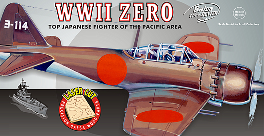 Guillows WWII Mitsubishi Zero Japanese Balsa Model Airplane Kit